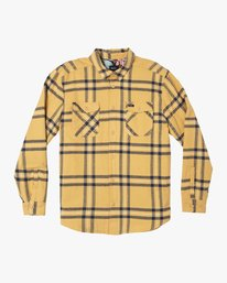 0 Yield Plaid Button-Up Flannel Red M554WRYI RVCA