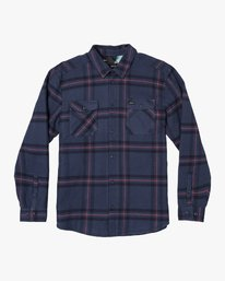 0 Yield Plaid Button-Up Flannel Blue M554WRYI RVCA
