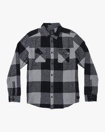0 Haywire Plaid Button-Up Flannel Grey M555WRHA RVCA