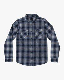 0 Hostile Plaid Button-Up Flannel Blue M556WRHO RVCA