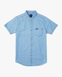 0 Dead Flag Washed Button-Up Shirt Blue M559URDF RVCA
