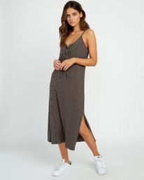 0 Equator Striped Midi Dress Grey P3DRRGRVS9 RVCA