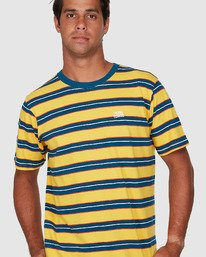 3 Speak Up Stripe Short Sleeve Tee Yellow R106065 RVCA