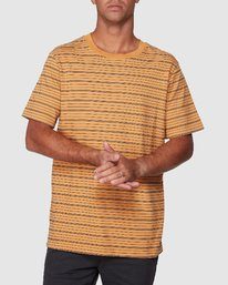 0 Rain Stripe Short Sleeve Tee Orange R107062 RVCA