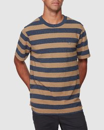0 Shallow End Stripe Short Sleeve Tee Blue R107063 RVCA