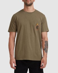 2 Snake Eyes Pocket Short Sleeve Tee Green R115050 RVCA