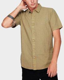 0 Crushed Short Sleeve Shirt Yellow R182191 RVCA