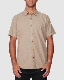 0 Crushed Short Sleeve Shirt Brown R182191 RVCA