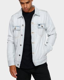0 RVCA Distressed Denim Jacket White R183446 RVCA