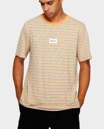 0 RVCA Focus Stripe T-Shirt Yellow R191049 RVCA
