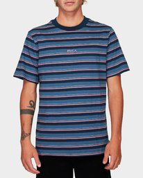 0 Curtis Stripe Short Sleeve T-Shirt Blue R192052 RVCA