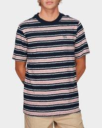 0 Hank Stripe Short Sleeve T-Shirt Blue R192063 RVCA