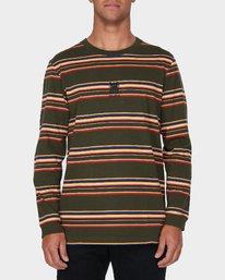 0 RVCA Crest Long Sleeve T-Shirt Green R193097 RVCA