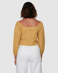 3 Fade Out Long Sleeve Top Yellow R207184 RVCA