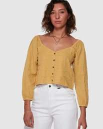 0 Fade Out Long Sleeve Top Yellow R207184 RVCA