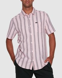 0 DISPLACED STRIPE SHORT SLEEVE TOP Pink R305189 RVCA
