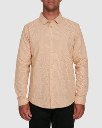 0 CRUSHED CHECK LONG SLEEVE TOP Beige R305195 RVCA