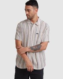 4 Beat Stripe Short Sleeve Shirt Green R315183 RVCA