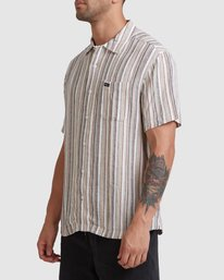 1 Beat Stripe Short Sleeve Shirt Green R315183 RVCA