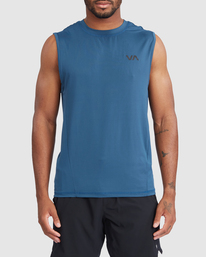 0 VA Sport | Sport Vent Workout Muscle Tank Top Blue R318001 RVCA