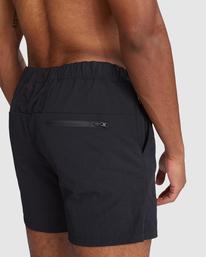 "4 Outsider Packable Elastic Shorts 17"" Black R318321 RVCA"