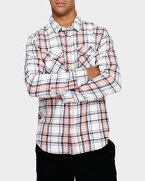 0 Avett Flannel Long Sleeve Shirt White R391182 RVCA
