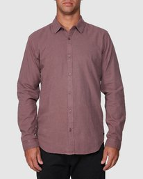0 Crushed Long Sleeve Shirt Red R391193 RVCA
