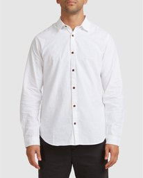 0 Crushed Long Sleeve Shirt White R391193 RVCA