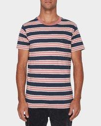 0 Lucas Stripe T-Shirt Blue R393041 RVCA