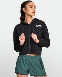 0 Sport Cropped Full Zip Hoodie Black R407885 RVCA