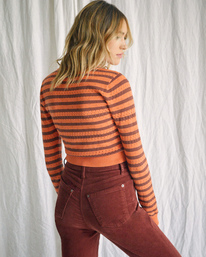 2 Camille Rowe | Paris Pointelle Sweater Orange R415364 RVCA