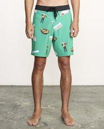 """1 Hot Fudge Trunk 18"""" - Bañador de surf de pantalón con estampado para Hombre Verde S1BSRMRVP0 RVCA"""