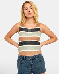 Foxxe Sweater - Striped Knitted Tank Top for Women  S3TPRARVP0