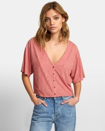 0 Chalked Top - V Neck Tee for Women Red S3TPRDRVP0 RVCA