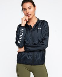 0 Hex Packable Windbreaker Jacket Black T704TRHE RVCA