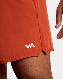 """2 YOGGER STRETCH recycled 17"""" workout SHORT Red V201TRYS RVCA"""
