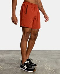 """5 YOGGER STRETCH recycled 17"""" workout SHORT Red V201TRYS RVCA"""