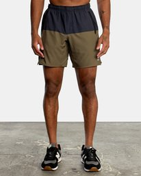 """0 YOGGER STRETCH recycled 17"""" workout SHORT Brown V201TRYS RVCA"""