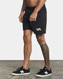 "3 Tech Strike Train Gym Shorts 16"" Black V2023RTS RVCA"