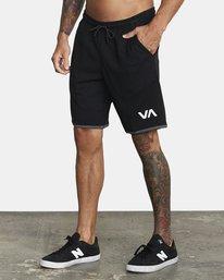 "3 VA Sport IV Gym Shorts 20"" Black V2063RSS RVCA"