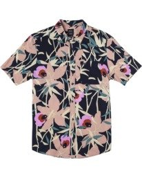 0 Bamboo Floral - Short Sleeve Shirt for Men Blue W1SHRZRVP1 RVCA