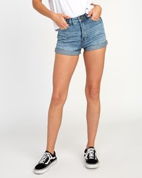0 Hi Roller High Rise Denim Short Blue W201TRRO RVCA