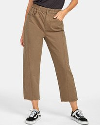 0 OUT GOING HIGH RISE CROPPED TROUSER Green W3031ROG RVCA