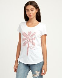 0 Oblow Palm Scoop Neck T-Shirt White W401QROS RVCA