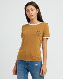 0 Pixel Script Burnout Ringer T-Shirt Yellow W410SRPI RVCA