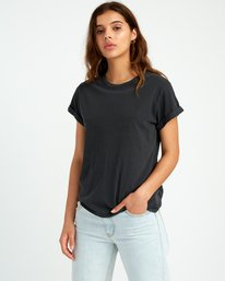 0 Solid Label Cuffed Crew T-Shirt Black W436URLA RVCA