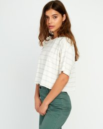 0 Vava Striped Cropped T-Shirt Grey W441URVA RVCA
