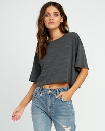 0 Vava Striped Cropped T-Shirt Black W441URVA RVCA