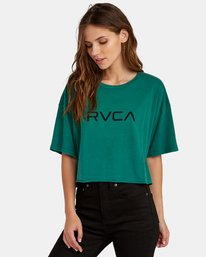 0 Big RVCA Cropped T-Shirt Green W441WRBR RVCA