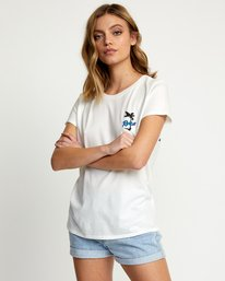 0 ALOHA RAINBOW SHORT SLEEVE T-SHIRT White W4533RAR RVCA